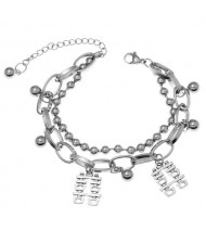 Chinese Characters Pendants Hip-hop Style Unique Women Fashion Alloy Bracelet