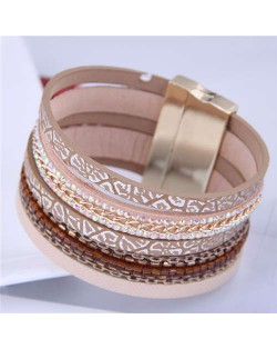 Chains and Leather Combo Design Bold Wide Fashion Women Magnetic Bracelet - Brown