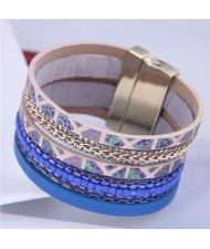 Chains and Leather Combo Design Bold Wide Fashion Women Magnetic Bracelet - Blue