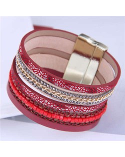 Chains and Leather Combo Design Bold Wide Fashion Women Magnetic Bracelet - Red