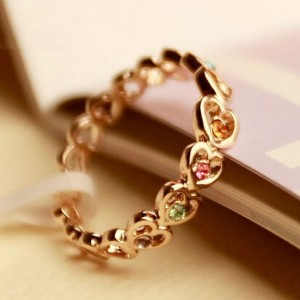 Heart Linked Polychrome Starry Crystal 18K Rose Gold Pinky Ring