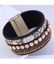 Beads and Rhinestone Embellished Leather Texture Wide Magnetic Bracelet - Mixed Color