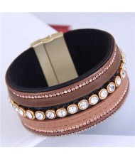Beads and Rhinestone Embellished Leather Texture Wide Magnetic Bracelet - Brown