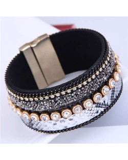 Beads and Rhinestone Embellished Leather Texture Wide Magnetic Bracelet - White