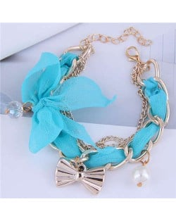 Korean Fashion Beads and Golden Bowknot Pendants Lace and Alloy Chain Mixed Women Bracelet - Blue