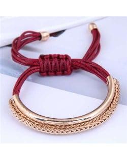 Golden Chains Decoration High Fashion Wax Rope Women Bracelet - Red