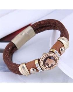 Rhinestone and Gems Embellished Folk Fashion Women Leather Magnetic Bracelet - Wine Red