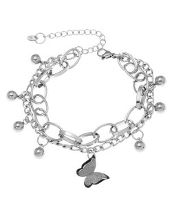 Matte Vintage Butterfly Pendant with Beads Chains Hip-hop Fashion Women Bracelet