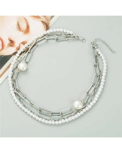 Graceful Pearl and Chain Mixed High Fashion Women Costume Necklace - Silver