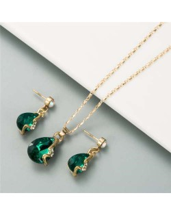 Rhinestone Embellished Elegant Waterdrops Design 2pcs Women Costume Necklace and Earrings Jewelry Set - Green