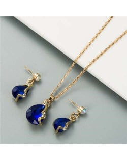 Rhinestone Embellished Elegant Waterdrops Design 2pcs Women Costume Necklace and Earrings Jewelry Set - Blue