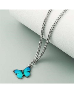 Oil-spot Glazed Vivid Butterfly Pendant Chain Fashion Women Statement Necklace - Lake Blue