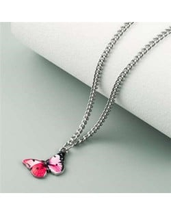 Oil-spot Glazed Vivid Butterfly Pendant Chain Fashion Women Statement Necklace - Rose