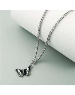 Oil-spot Glazed Vivid Butterfly Pendant Chain Fashion Women Statement Necklace - Black and White
