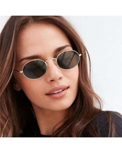 Oval Frame Vintage Design Colorful Lens High Fashion Women Sunglasses