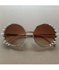 Pearls Decorated Vintage Round Frame High Fashion Women Sunglasses