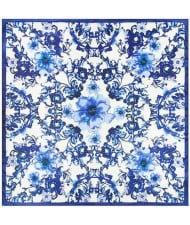 3 Colors Available Chinese Porcelain Flowers Pattern 60*60 cm Square Women Artificial Silk Scarf