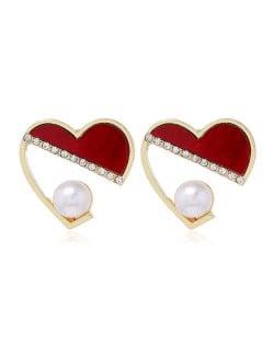 Rhinestone and Artificial Pearl Embellished Cute Heart Design Korean Fashion Women Earrings - Red