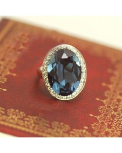 Luxurious Austrian Crystal Embedded Platinum Plated Ring - Ink Blue