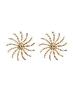 Creative Rhinestone Sunflower Design U.S. High Fashion Women Stud Earrings - Coffee