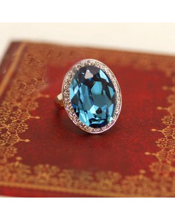 Luxurious Austrian Crystal Embedded Platinum Plated Ring - Sky Blue