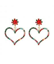 U.S. High Fashion Rhinestone Adorable Heart Design Women Stud Earrings - Multicolor