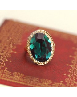 Luxurious Austrian Crystal Embedded 18K Rose Gold Ring - Green