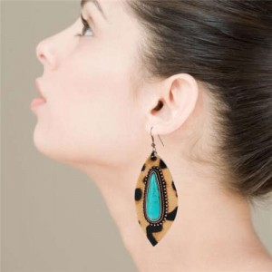 Artificial Turquoise Inlaid Leopard Prints Leaves Design Leather Women Earrings - Brown