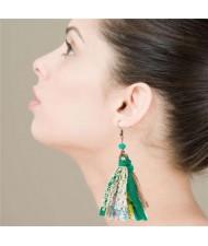Bohemian Fashion Assorted Cloth Threads Women Tassel Earrings - Green