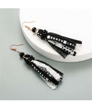 Bohemian Fashion Assorted Cloth Threads Women Tassel Earrings - Black