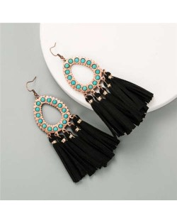 Artificial Turquoise Embellished Waterdrop with Tassel Design Women Costume Earrings - Black