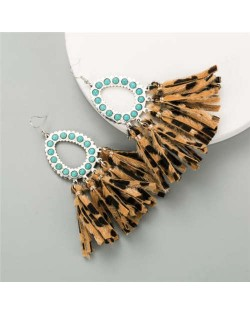Artificial Turquoise Embellished Waterdrop with Tassel Design Women Costume Earrings - Coffee