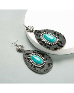 Artificial Turquoise Inlaid Vintage Leopard Prints Leather Waterdrop Design Women Earrings - Gray