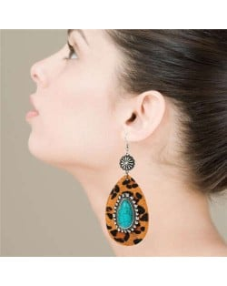Artificial Turquoise Inlaid Vintage Leopard Prints Leather Waterdrop Design Women Earrings - Brown