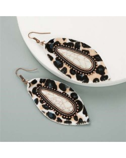 Artificial Turquoise Inlaid Bold Style Leopard Prints Leaf Design Women Earrings - White