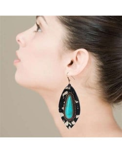 Artificial Turquoise Inlaid Bold Style Leopard Prints Leaf Design Women Earrings - Black