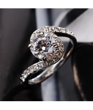 Forever Love Theme Rhinestone Embellished Cubic Zirconia Platinum Plated Ring