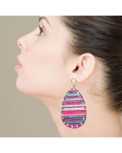 Colorful Painting Prints Waterdrop Design Women Leather Costume Earrings - Purple