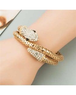 Rhinestone Decorated Snake Design Punk Fashion Golden Alloy Bracelet - Golden