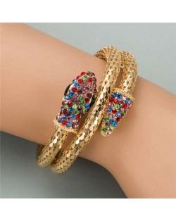 Rhinestone Decorated Snake Design Punk Fashion Golden Alloy Bracelet - Multicolor