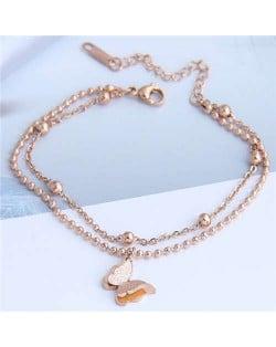 Dual Layers Flower Pendant Beads Chain Fashion Women Bracelet - Rose Gold