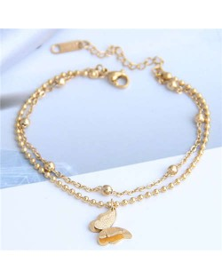 Dual Layers Flower Pendant Beads Chain Fashion Women Bracelet - Golden