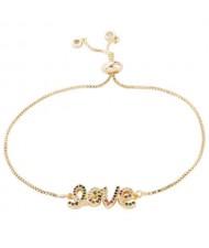 Colorful Love Aphabets Pendant Golden Fashion Women Bracelet