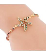 Coloful Cubic Zirconia Embellished Starfish Design High Fashion Women Bracelet