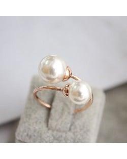 Elegent Twins Pearl 18K Rose Gold Ring