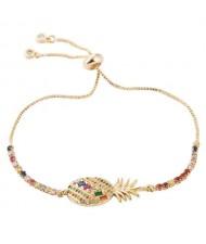 Coloful Cubic Zirconia Pineapple Design High Fashion Women Bracelet