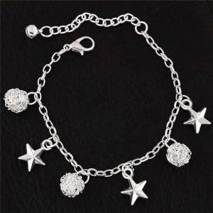 Stars and Weaving Ball Pendants High Fashion Alloy Bracelet