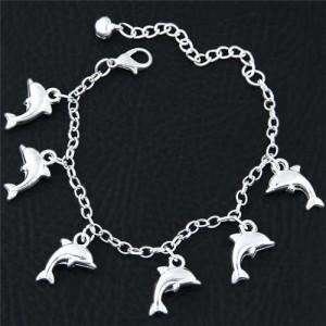 Dolphins Pendant Korean Fashion Women Alloy Bracelet