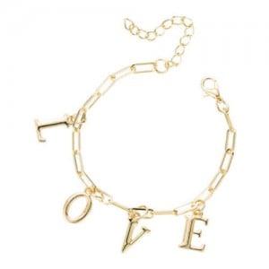 Love Alphabets Metallic Fashion Golden Alloy Bracelet