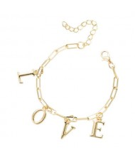 Love Alphabets Metallic Fashion Golden Alloy Bracelet
